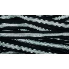 Лампас трикотажный черный серебро 25мм