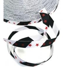 Киперная лента  Звезды красные на черно-белой полоске (двухсторонняя)